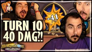 TURN 10 = 40 DAMAGE ROUND?! - Hearthstone Battlegrounds