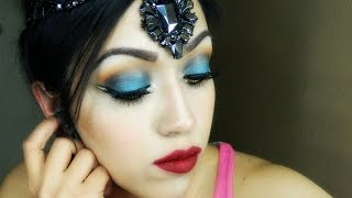 Easy Blue and Gold Arabic Makeup Tutorial
