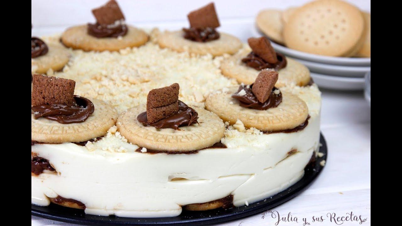 Tarta de galletas y crema de chocolate blanco😋SIN HORNO Y BUENÍSIMA!!