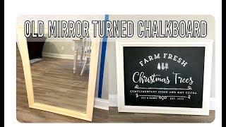 Old Mirror Turned Chalkboard Art