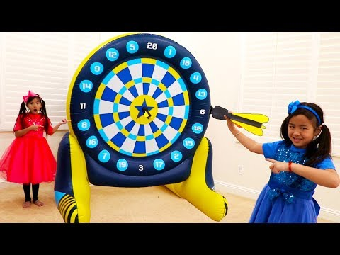 Emma & Jannie Pretend Play With Giant Inflatable Dartboard Toy For Kids