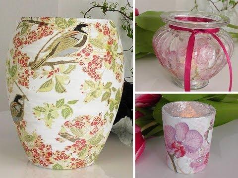 DIY: Vasen und Gläser mit Serviettentechnik als Frühlings-Deko