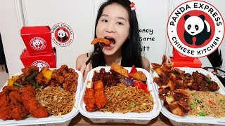 HUGE PANDA EXPRESS TAKEOUT! Honey Sesame Chicken, Shanghai Angus Beef Steak & Noodles - Mukbang Asmr
