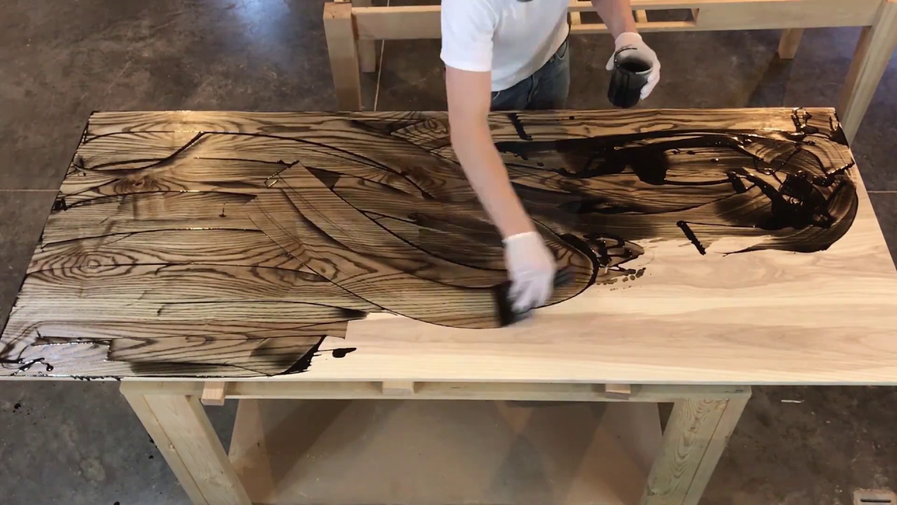 Applying Rubio Monocoat finish to Hardwood Ash Desktop