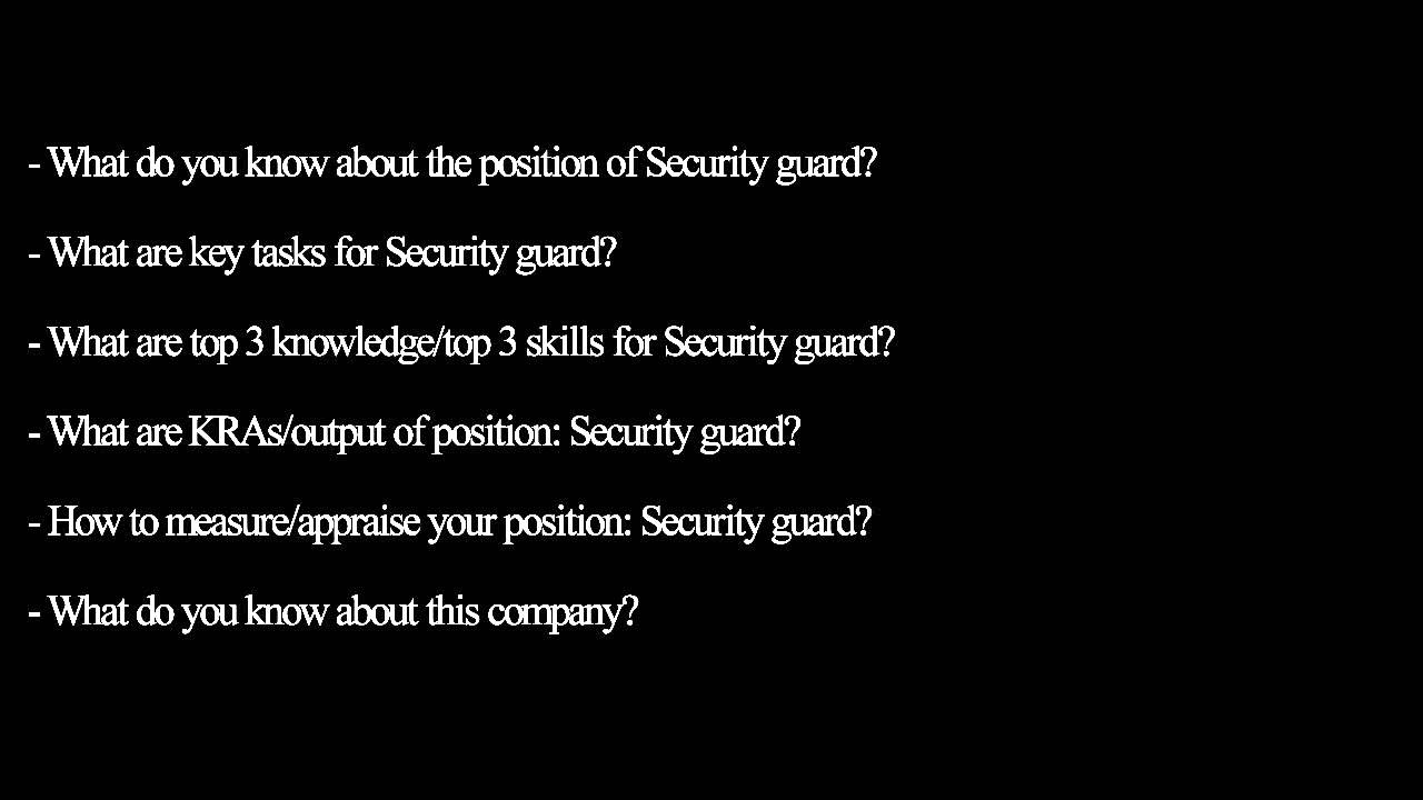 Security Guard Questions