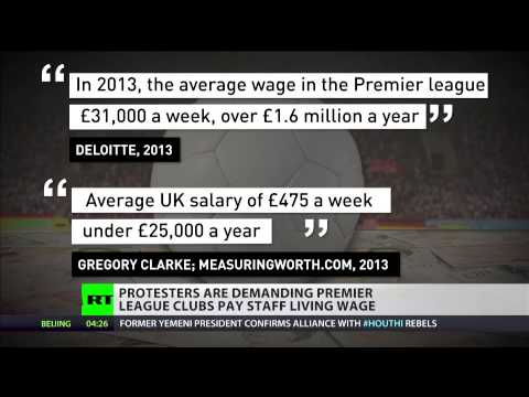 Protesters demand premier league clubs to pay staff living wage
