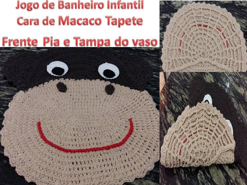 Jogo de banheiro infantil Cara de Macaco Tampa do Vaso e Tapete frente pia p -> Jogo De Banheiro Pia E Vaso