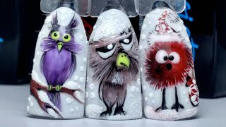 Зимний Дизайн Ногтей Зимние Смешные Птички Онлайн Урок