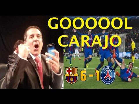 Así Reaccionó Gonzalo Nuñez con el GOL de Sergi Roberto / BARCELONA 6 PSG 1 / Exitosa Deportes