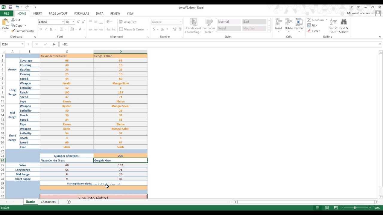 Combat Simulator (Excel Simulation Game)