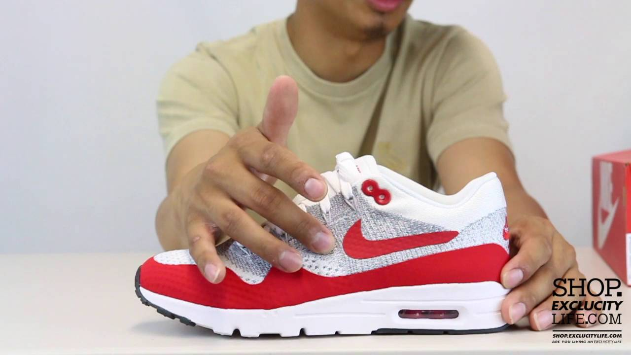 8924db67fdc Women s Air Max 1 Ultra Flyknit White - True Red Unboxing Video at Exclucity
