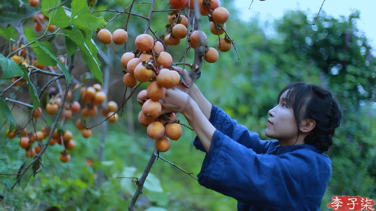 吊柿饼|It's a red mountain, and in the fall, it's natural to make some sweet persimmons.|Liziqi channel