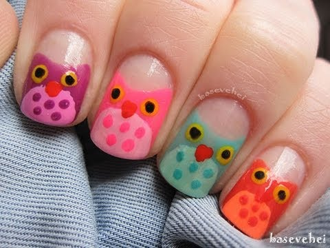 owl nail art - tutorial kolorowe