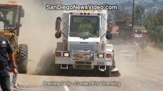 Trailer Dumps Dirt & Rocks Across SR67, Santee