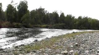 Shallow Water River Boat On Clear Creek.avi