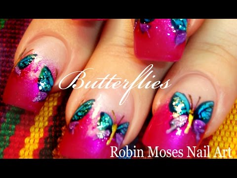 easy butterfly nails diy glitter