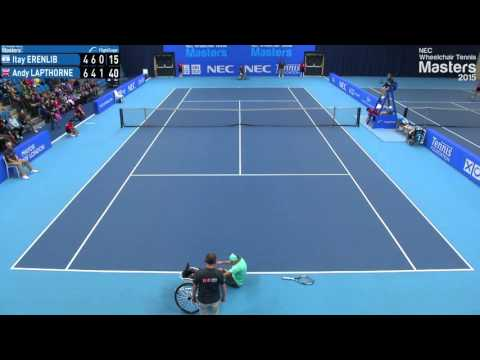 Andy Lapthorne falls out of his wheelchair at the NEC Wheelchair Tennis Masters