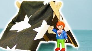 Playmobil zelten mit der Kita?!   Julian Vogels neues Zelt   DIY deutsch Zubehör selber machen