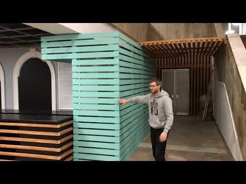 Мебель для кафе в эко стиле из брусков от мастерской KingPallet | Дизайн интерьера кафе в Одинцово