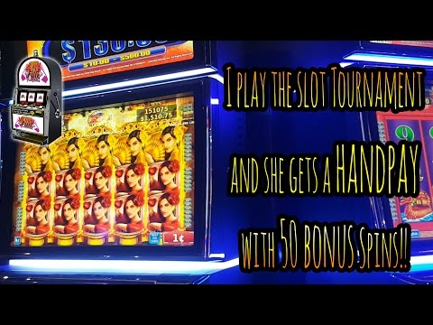 Iovany plays the Slot Tournament and she gets a !!HANDPAY!! with 50 !!BONUS!! Spins!