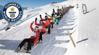 Longest chain of sleds - Guinness World Records