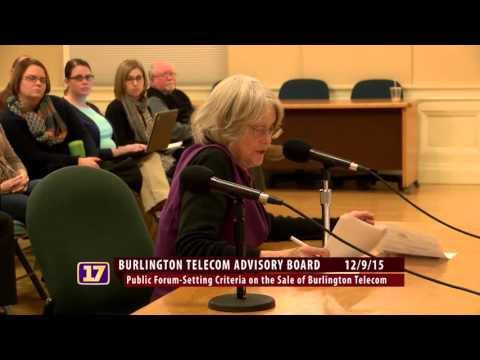 "Burlington Telecom Advisory Board: Sale Criteria Public Educational Meeting ""Public Comment 1"""