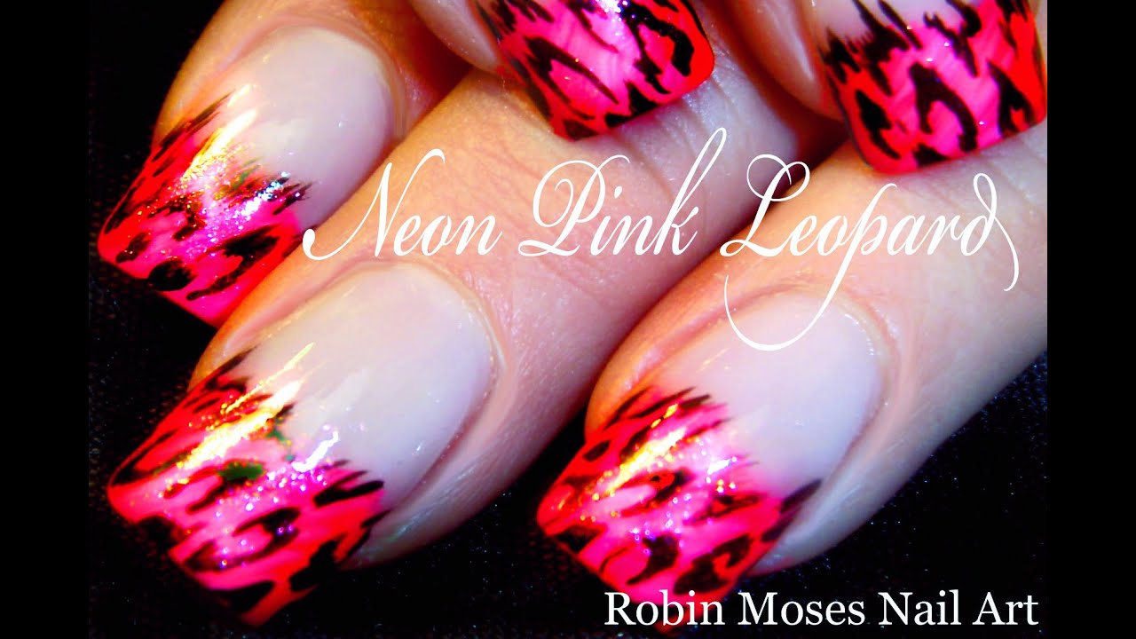 Neon Pink Leopard Nails | Easy Messy French Mani Nail Art ...