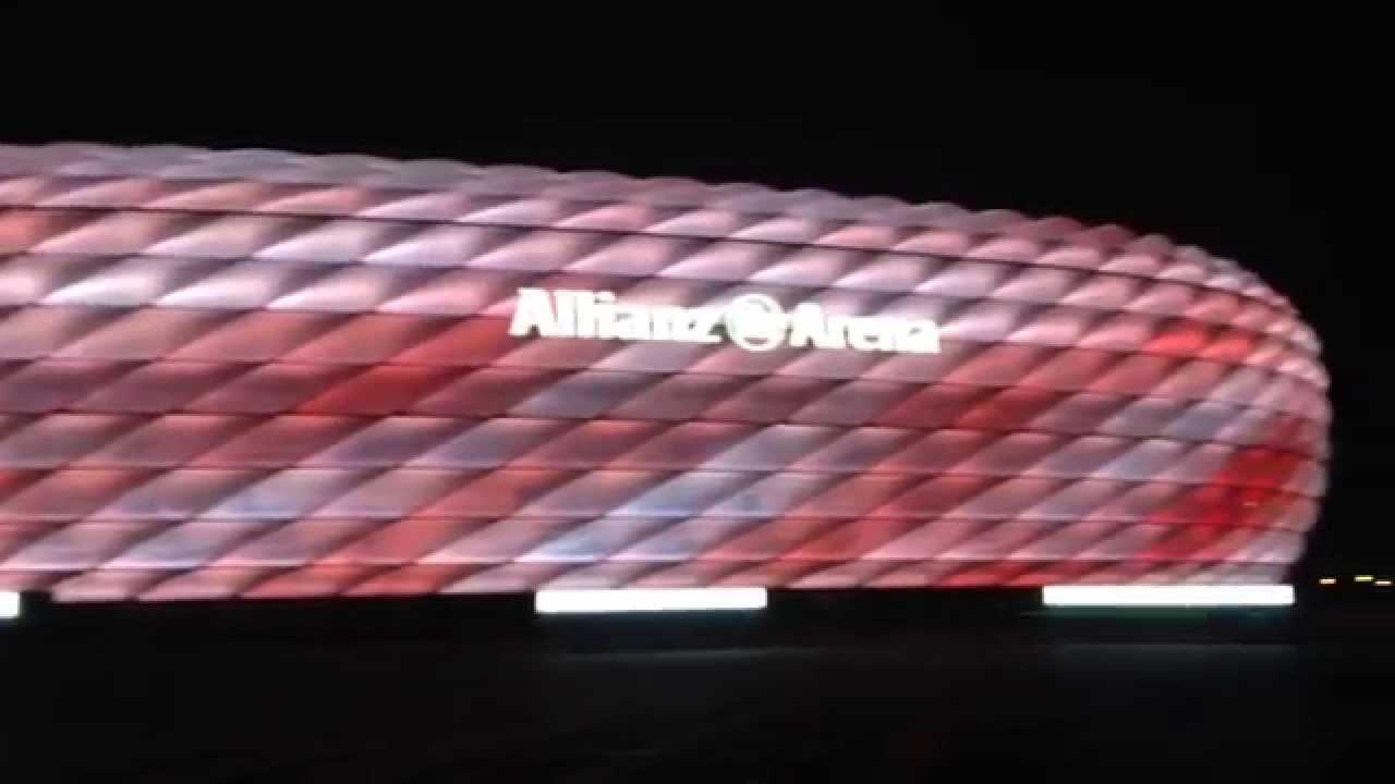 fc bayern allianz arena erstrahlt in neuen farben youtube. Black Bedroom Furniture Sets. Home Design Ideas