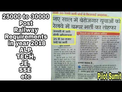 30000 Post in Railway Recruitment 2018 for ALP,Tech, JE, SSE etc