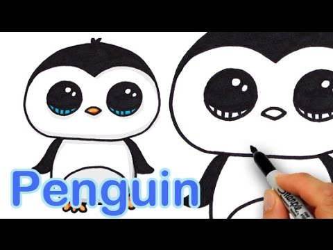 How To Draw A Cute Cartoon Penguin Easy Step By Step Youtube