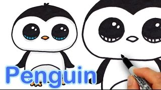 How to Draw a Cute Cartoon Penguin Easy step by step
