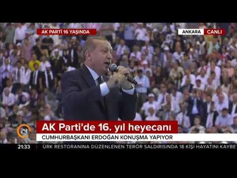 Cumhurbaşkanı Erdoğan, AK Parti'nin 16. yılı kutlamalarında konuştu