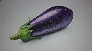 dessiner une aubergine réaliste ( promarker et pastel sec ) speed drawing