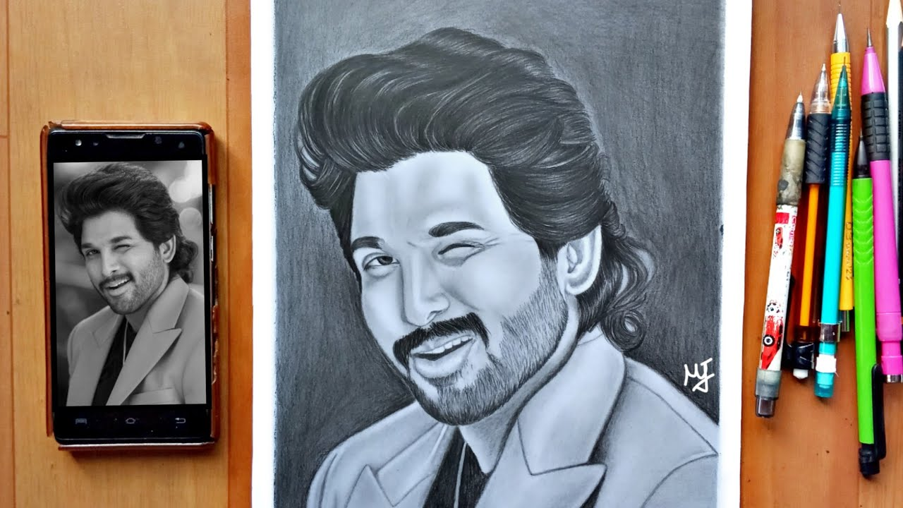 Allu Arjun Drawing Pencil Sketch Ala Vaikunthapurramuloo Movie Sourav Joshi Arts Method By Mj Arts Youtube