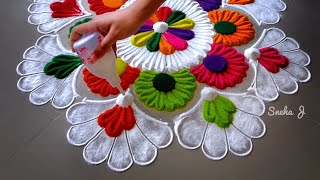 Very easy and attractive multicolored kolam for festivals | Rangoli by Sneha J |