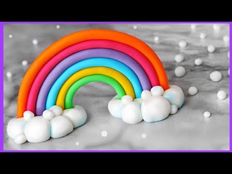 Bright Rainbow & Fluffy Clouds Cake Topper 🌈