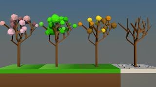Low Poly Speed Art:: Tree Seasons