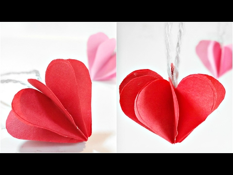 Paper heart 3D For Decoration/DIY Crafts - Paper Hearts Design Valentine's Day tutorial