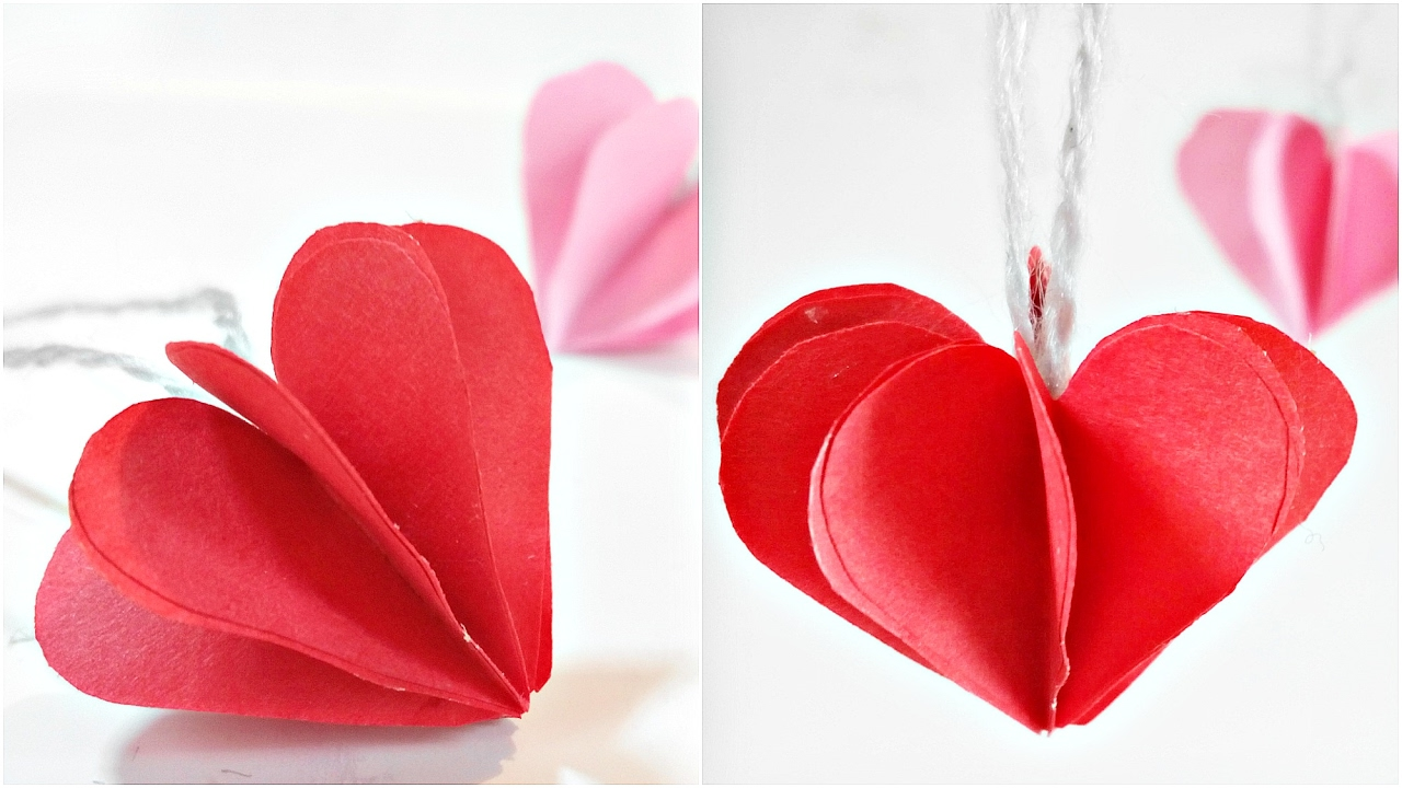 Paper Heart 3d For Decoration Diy Crafts Paper Hearts Design