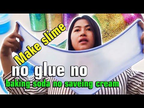 Make slime no glue no baking soda no saveing cream