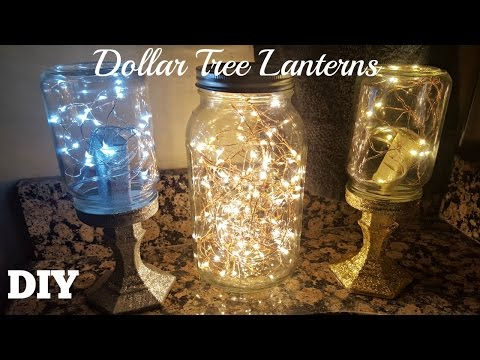 DIY DOLLAR TREE MASON JAR LANTERNS 2017   Starry FAIRY STRING LIGHTS CRAFT