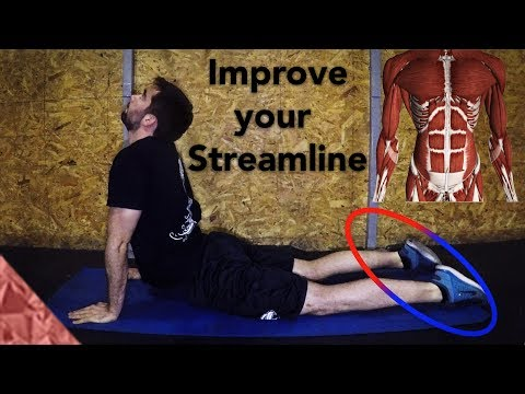 Stretching exercises to improve your underwater dolphin kick. Yoga type positions for swimmers