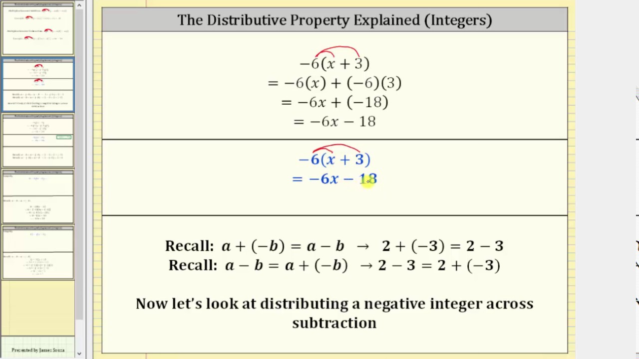 The Distributive Property with Negative Integers - YouTube [ 720 x 1280 Pixel ]
