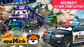 #appMink car animation – Team Police Cars Catching Evil Bus Kids cartoon
