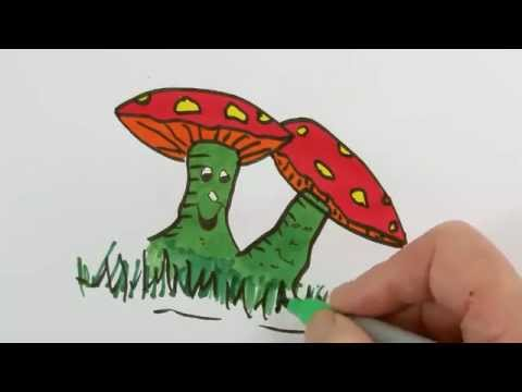 Colouring Cartoon Mushroom With Marker Pens Coloring