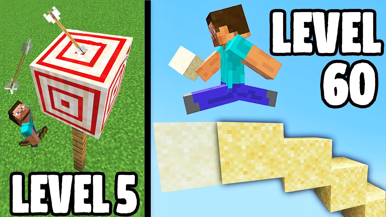 Minecraft IMPOSSIBLE Trick Shots (Level 1 To Level 100)