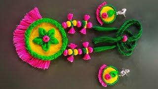 Fabric thread tassel jewellery making | DIY handmade traditional jewellery set