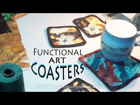 Raw Edge Applique Coasters | Zazu's Stitch Art Tutorials