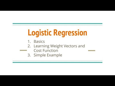 Logistic Regression (Basics, Cost Function, Learning Weight Vectors, Example)