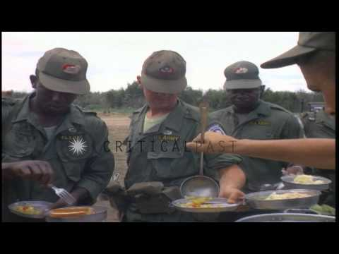 The soldiers of the US 173rd Airborne Brigade Combat Team being served food and t...HD Stock Footage